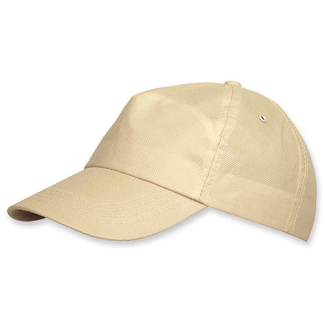 POMPO - baseballová čepice z netkané text. (75 g/m2), suchý zip, 5 panelů - hnědá