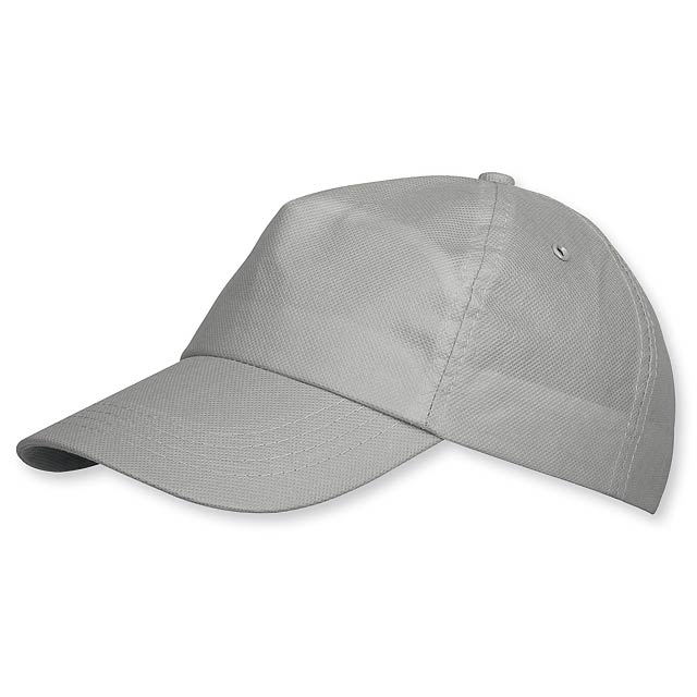 POMPO - baseballová čepice z netkané text. (75 g/m2), suchý zip, 5 panelů - šedá