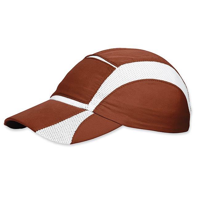 LUIZ - polyesterová baseballová čepice, prodyšné klíny, stažení na gumu - hnědá