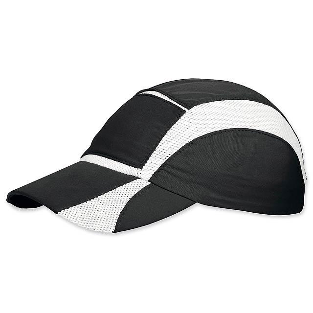 LUIZ - polyesterová baseballová čepice, prodyšné klíny, stažení na gumu - černá