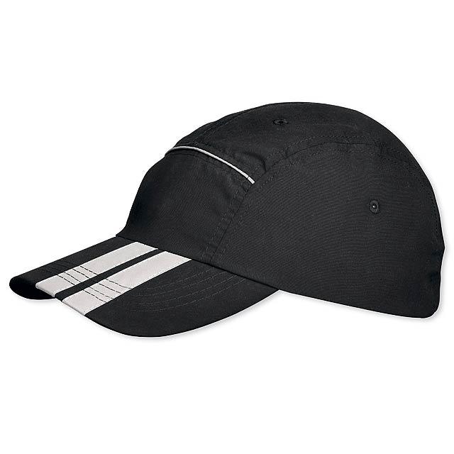 SIGY - polyesterová baseballová čepice, reflexní doplňky, suchý zip - černá