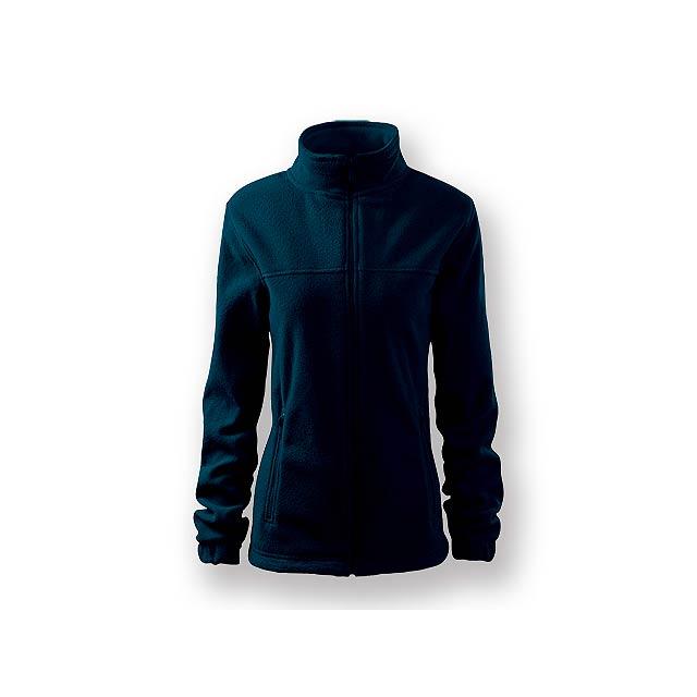 OLIVIE - Dámská fleecová celopropínací mikina s dlouhým rukávem a dvěma kapsami, 100 % PES, 280 g/m2.  - modrá