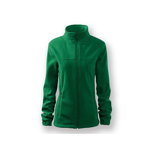 OLIVIE - Dámská fleecová celopropínací mikina s dlouhým rukávem a dvěma kapsami, 100 % PES, 280 g/m2.  - zelená