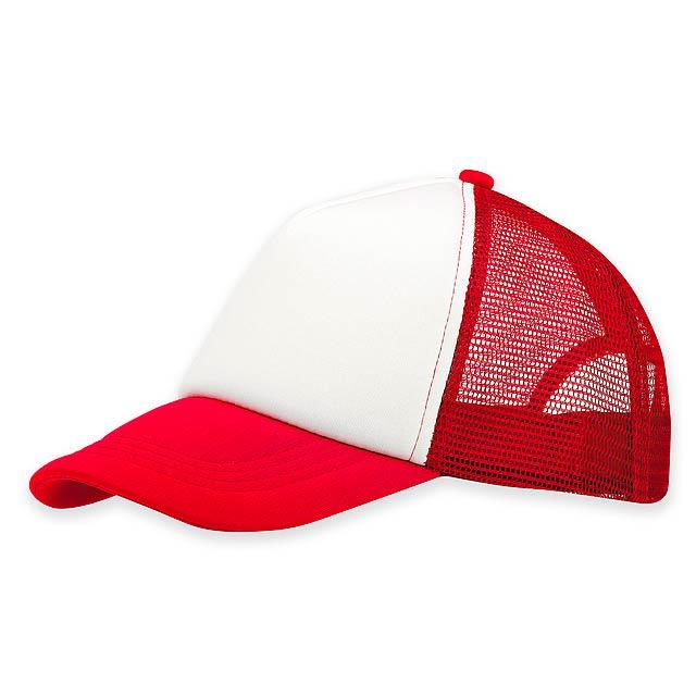 SAFA - Polyesterová baseballová čepice s nylonovou síťkou na zadních a bočních panelech a plastovou sponou, 5 panelů. - červená