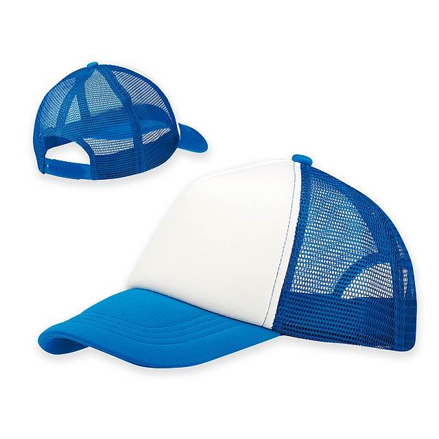 SAFA - Polyesterová baseballová čepice s nylonovou síťkou na zadních a bočních panelech a plastovou sponou, 5 panelů. - nebesky modrá