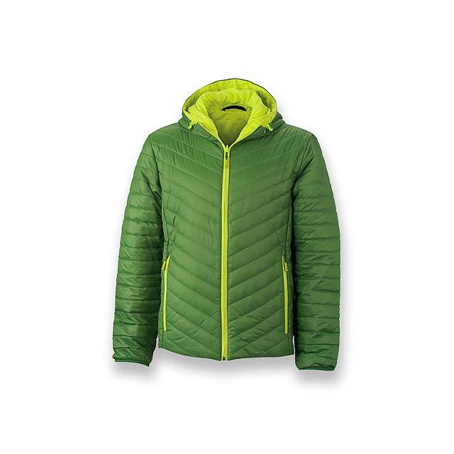 FLUFFY MEN - pánská oboustranná polyamidová bunda, vel. L, JAMES NICHOLSON - zelená