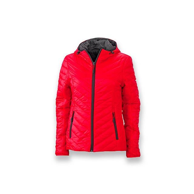 FLUFFY WOMEN - dámská oboustranná polyamidová bunda, vel. XXL, JAMES NICHOLSON - červená