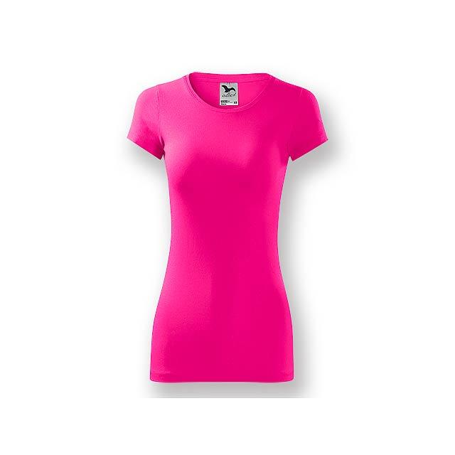 LORETANO - Dámské tričko s krátkým rukávem, projmutý střih,          - růžová