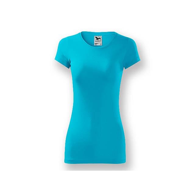 LORETANO - Dámské tričko s krátkým rukávem, projmutý střih,          - tyrkysová