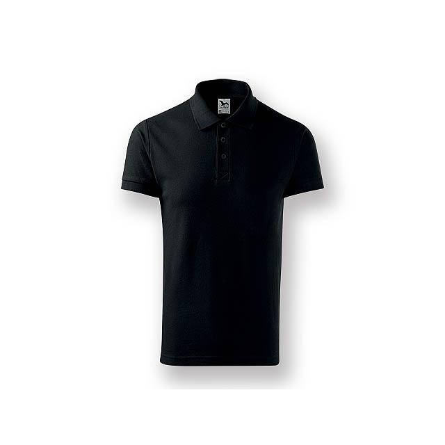 POLITO MEN - Pánská polokošile s krátkým rukávem, 100 % bavlna, piqué úplet, 170 g/m2.    - černá