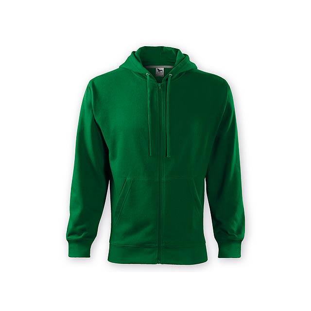 ZIPY MEN pánská mikina s kapucí, 300 g/m2, vel. S, ADLER, Lahvově zelená - zelená