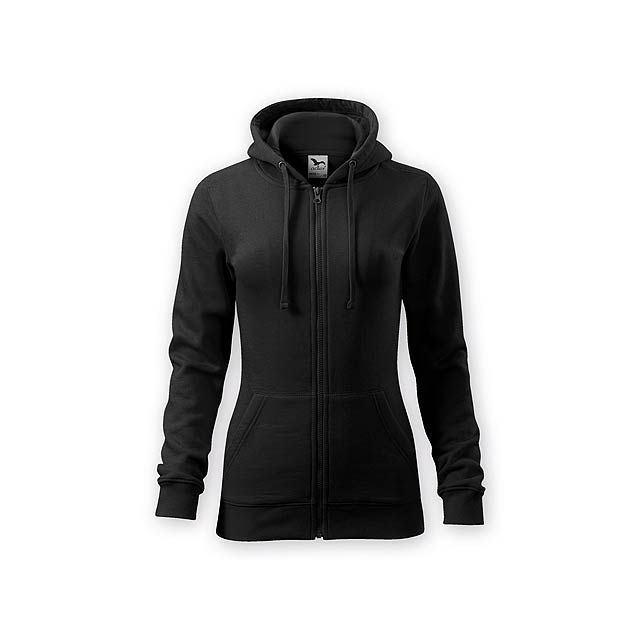 ZIPY WOMEN dámská mikina s kapucí, 300 g/m2, vel. S, ADLER, Černá - černá