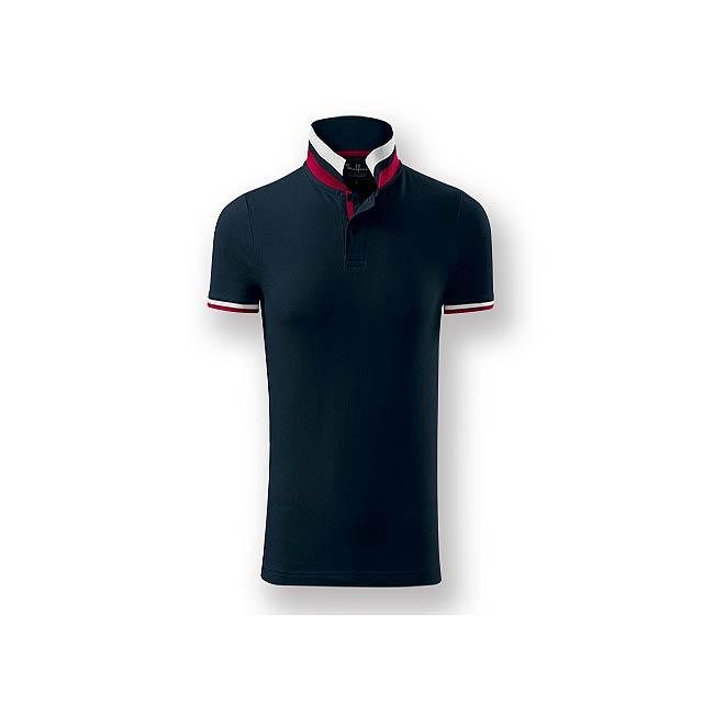 COLLAR MEN - Pánská polokošile s krátkým rukávem, zdobena kontrastními prvky, 100 % bavlna, piqué úplet, 215 g/m2. - modrá
