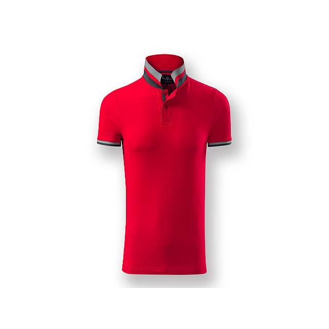 COLLAR MEN - Pánská polokošile s krátkým rukávem, zdobena kontrastními prvky, 100 % bavlna, piqué úplet, 215 g/m2. - červená