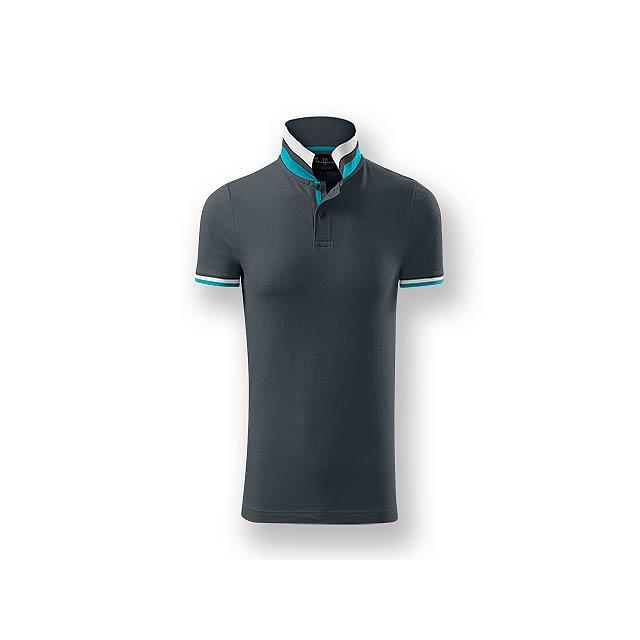 COLLAR MEN - Pánská polokošile s krátkým rukávem, zdobena kontrastními prvky, 100 % bavlna, piqué úplet, 215 g/m2. - šedá