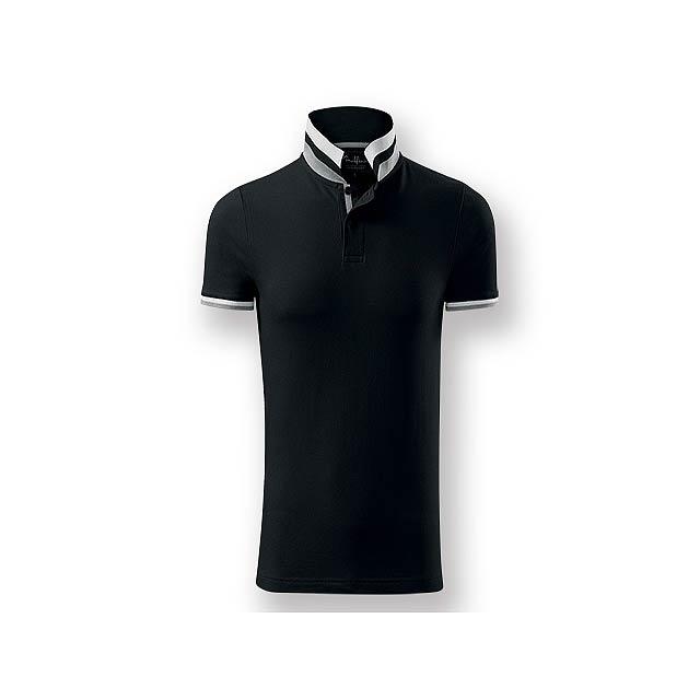 COLLAR MEN - Pánská polokošile s krátkým rukávem, zdobena kontrastními prvky, 100 % bavlna, piqué úplet, 215 g/m2. - černá