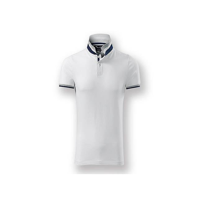 COLLAR MEN - Pánská polokošile s krátkým rukávem, zdobena kontrastními prvky, 100 % bavlna, piqué úplet, 215 g/m2. - bílá
