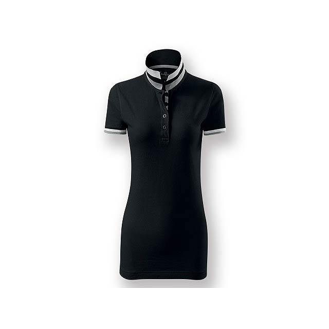 COLLAR WOMEN - Dámská polokošile s krátkým rukávem, zdobena kontrastními prvky, 100 % bavlna, piqué úplet, 215 g/m2. - černá
