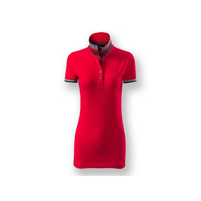 COLLAR WOMEN - Dámská polokošile s krátkým rukávem, zdobena kontrastními prvky, 100 % bavlna, piqué úplet, 215 g/m2. - červená