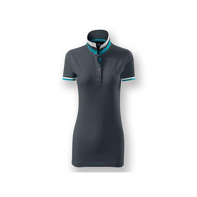 COLLAR WOMEN - Dámská polokošile s krátkým rukávem, zdobena kontrastními prvky, 100 % bavlna, piqué úplet, 215 g/m2. - šedá