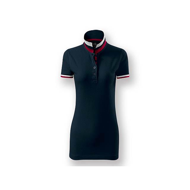 COLLAR WOMEN - Dámská polokošile s krátkým rukávem, zdobena kontrastními prvky, 100 % bavlna, piqué úplet, 215 g/m2. - modrá
