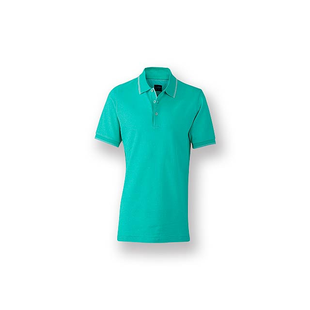 FANCY MEN - Pánská polokošile s krátkým rukávem, zdobena kontrastními prvky, 100 % bavlna, piqué úplet, 170 g/m2. - tyrkysová