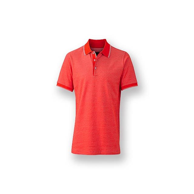 FANCY MEN - Pánská polokošile s krátkým rukávem, zdobena kontrastními prvky, 100 % bavlna, piqué úplet, 170 g/m2. - červená