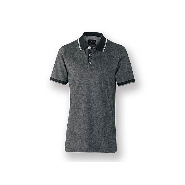 FANCY MEN - Pánská polokošile s krátkým rukávem, zdobena kontrastními prvky, 100 % bavlna, piqué úplet, 170 g/m2. - černá