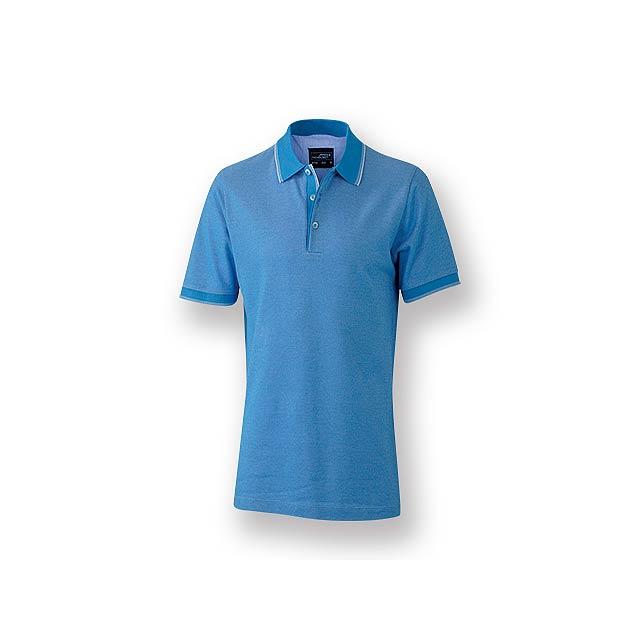 FANCY MEN - Pánská polokošile s krátkým rukávem, zdobena kontrastními prvky, 100 % bavlna, piqué úplet, 170 g/m2. - nebesky modrá