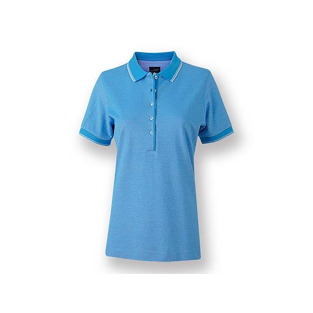 FANCY WOMEN - Dámská polokošile s krátkým rukávem, zdobena kontrastními prvky, 100 % bavlna, piqué úplet, 170 g/m2. - nebesky modrá