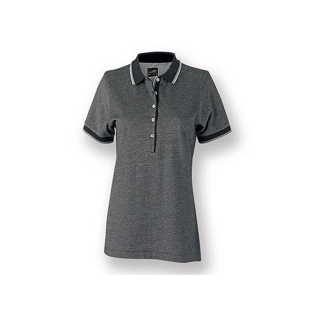 FANCY WOMEN - Dámská polokošile s krátkým rukávem, zdobena kontrastními prvky, 100 % bavlna, piqué úplet, 170 g/m2. - černá