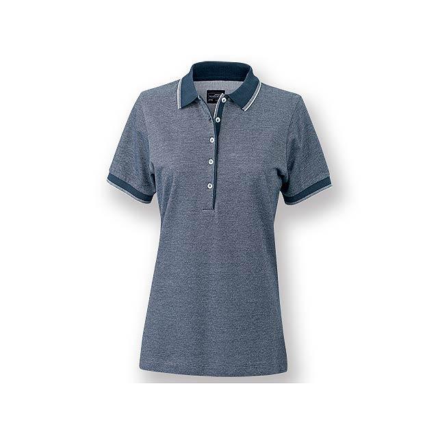 FANCY WOMEN - Dámská polokošile s krátkým rukávem, zdobena kontrastními prvky, 100 % bavlna, piqué úplet, 170 g/m2. - modrá