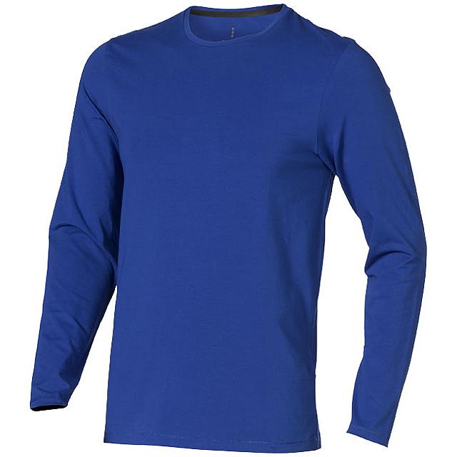 Pánské triko Ponoka s dlouhým rukávem, organická bavlna - modrá