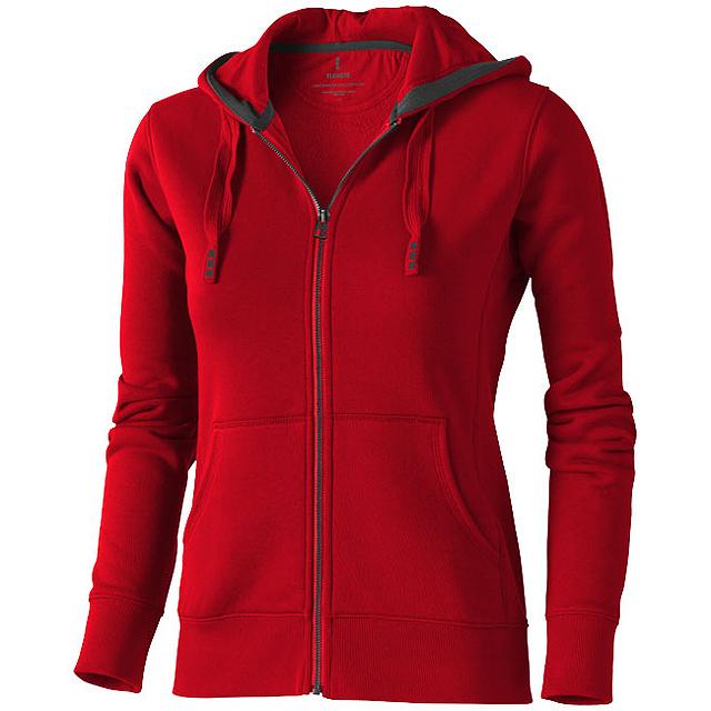 Dámská mikina Arora s kapucí, zip v celé délce - červená