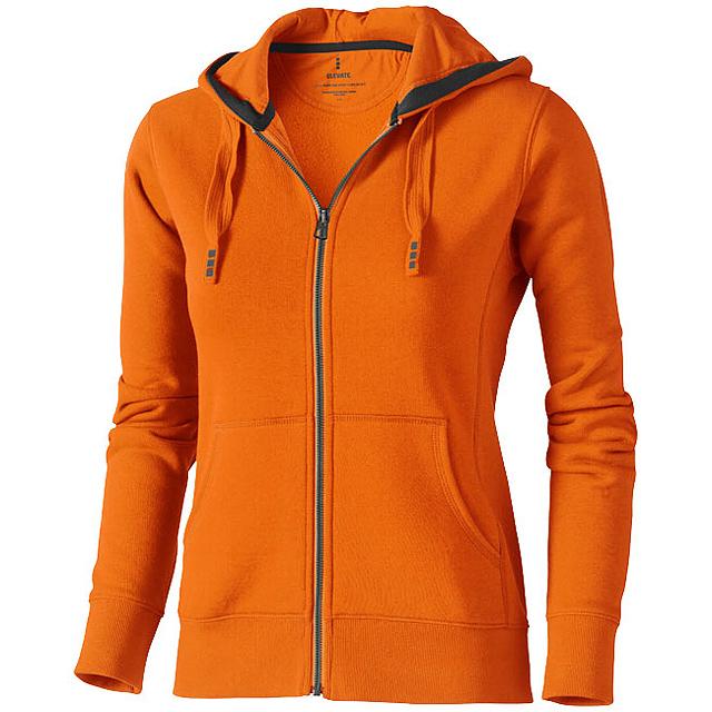 Dámská mikina Arora s kapucí, zip v celé délce - oranžová
