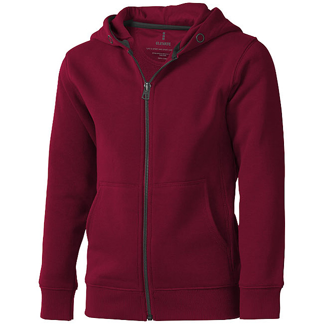 Arora celopropínací svetr na zip s kapucí pro děti - vínová