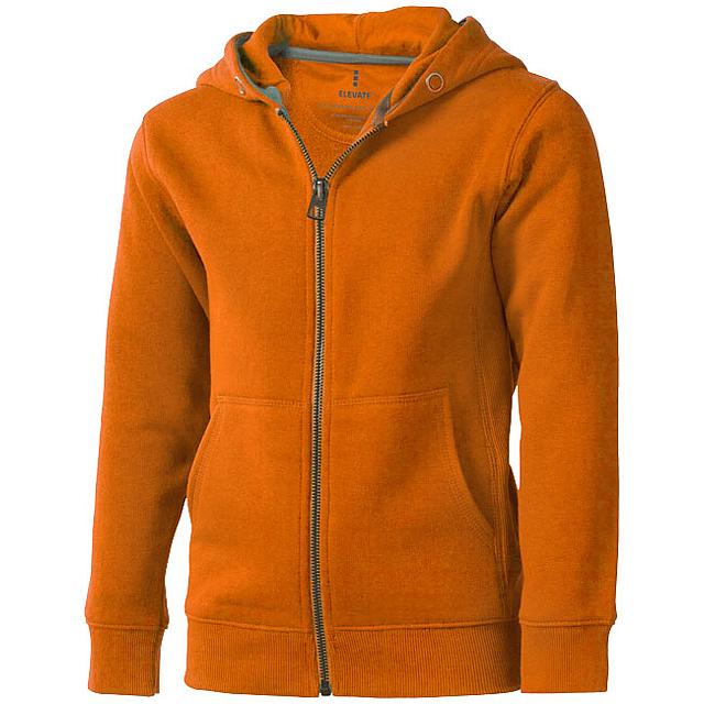 Arora celopropínací svetr na zip s kapucí pro děti - oranžová