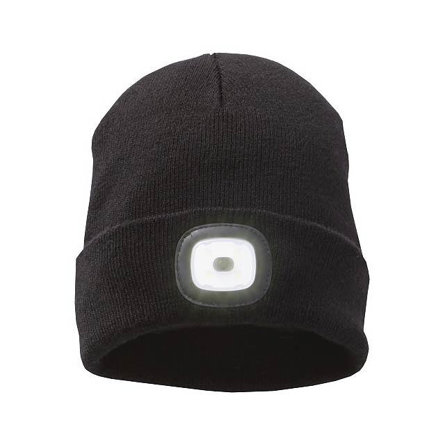 Pletená čepice Mighty s LED čelovkou - černá