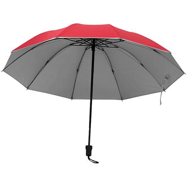 Deštník se stříbrným vnitřkem - červená