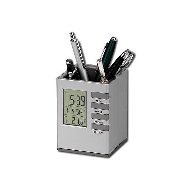 FABRIZIO - plastový stojánek na psací potřeby a hodiny, 5 funkcí - stříbrná