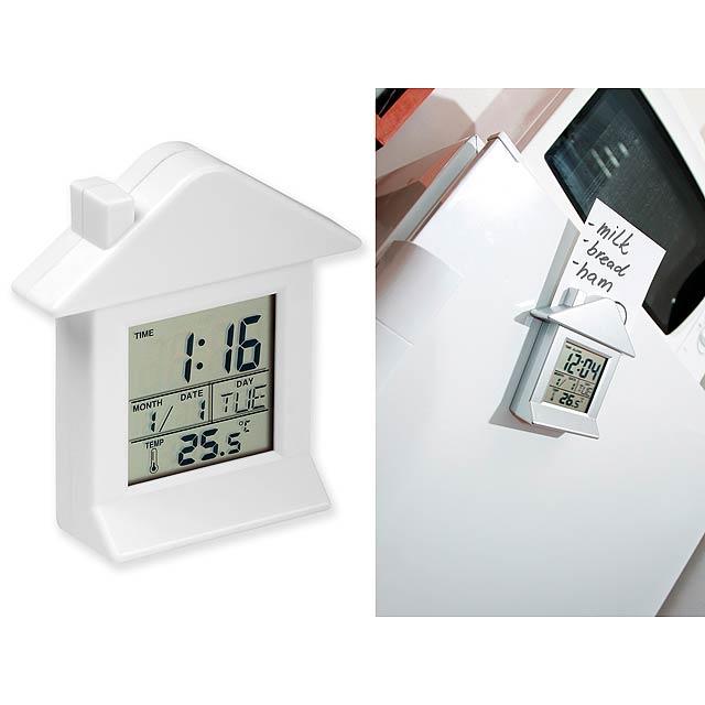 VILLA - plastové stolové hodiny s magnetom, 6 funkcií - biela