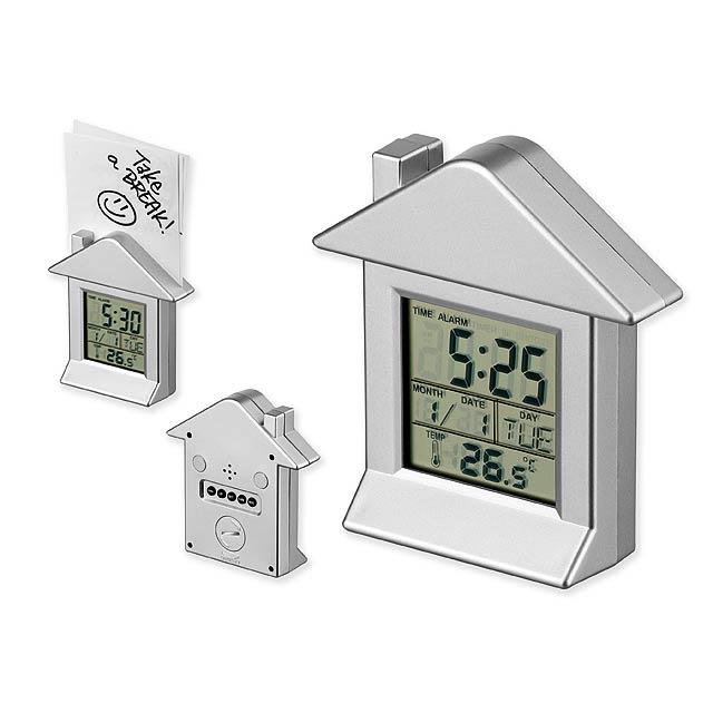 VILLA - plastové stolové hodiny s magnetom, 6 funkcií - strieborná
