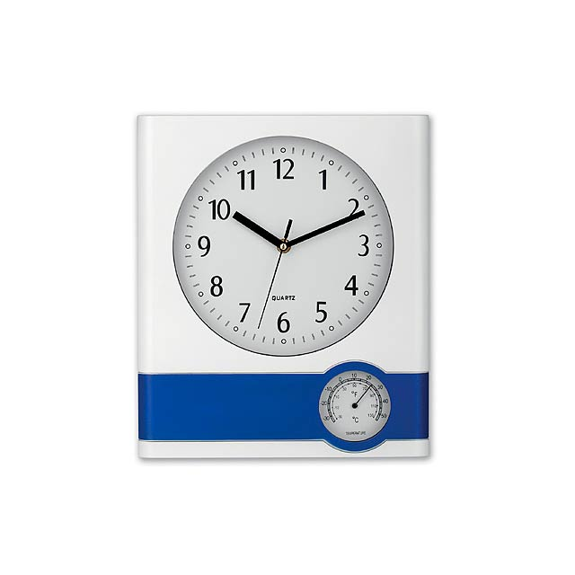 SELINA - Plastic wall clock with thermometer. Battery AA (1x) not included. - white