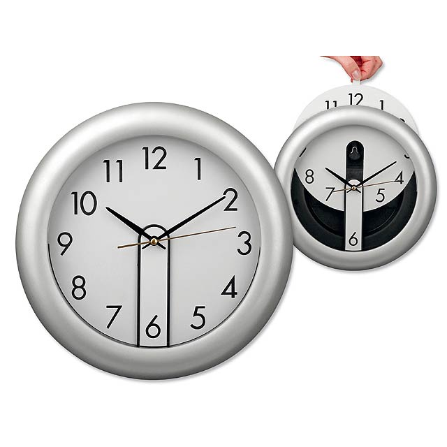 ELISEO - Wall clock from plastic with changeable paper dial-plate. Battery AA (1x) not included. - silver