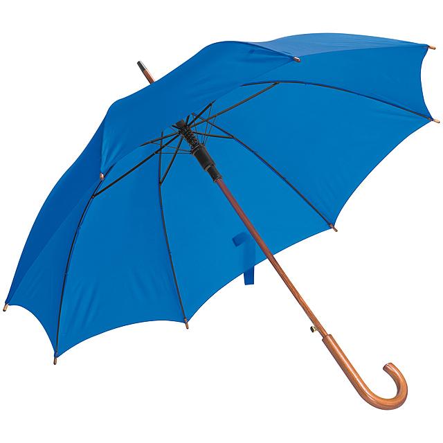Deštník s dřevěným držadlem - modrá