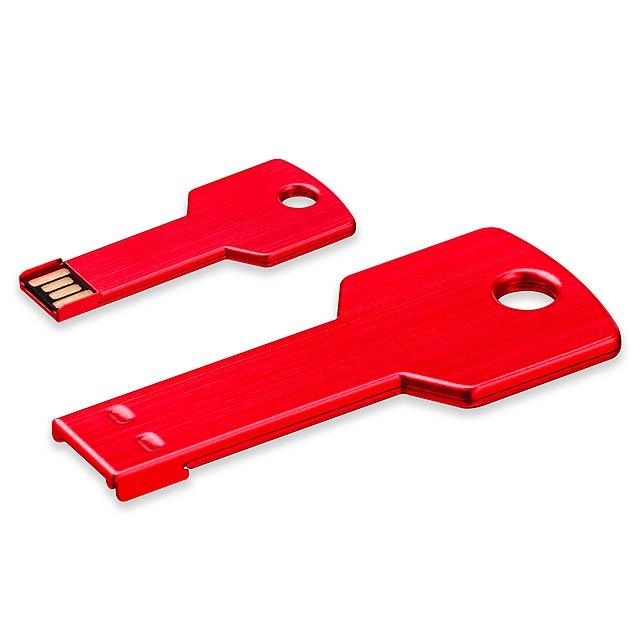 USB FLASH 36 - kovový USB FLASH disk 16GB, rozhraní 2.0. - červená