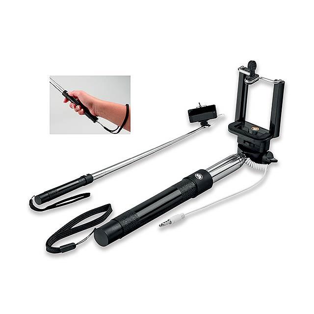 SELFIE - teleskopická selfie tyč z plastu a kovu - černá