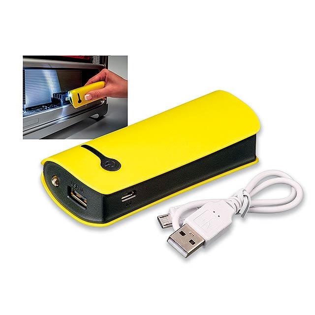 OPTIMUS - plastová záložní baterie s kapacitou 4 400 mAh - žlutá