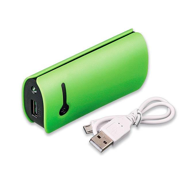 OPTIMUS plastová záložní baterie s kapacitou 4 400 mAh, Světle zelená - zelená