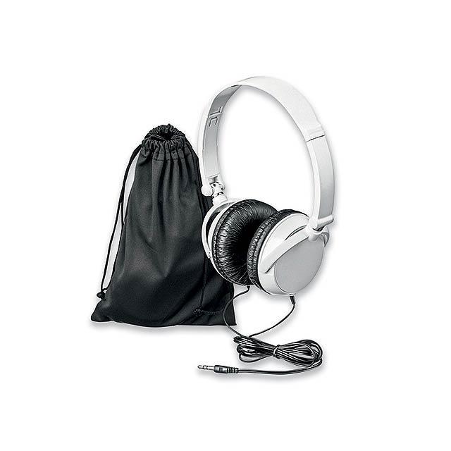 PULSE - plastová audio sluchátka s JACK kabelem - bílá
